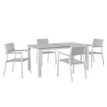 Maine 5 Piece Outdoor Patio Dining Set, White Light Grey Steel