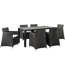 Junction 7 Piece Outdoor Patio Dining Set, Brown White Plastic