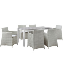 Junction 7 Piece Outdoor Patio Dining Set, Gray White Plastic