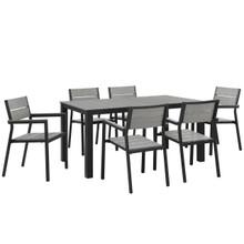 Maine 7 Piece Outdoor Patio Dining Set, Brown Grey Steel