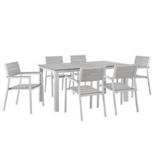 Maine 7 Piece Outdoor Patio Dining Set, White Light Grey Steel