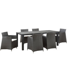 Junction 7 Piece Outdoor Patio Dining Set, Brown White, Plastic