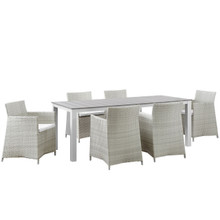 Junction 7 Piece Outdoor Patio Dining Set, Gray White, Plastic