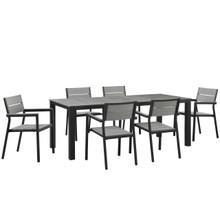 Maine 7 Piece Outdoor Patio Dining Set, Brown Grey, Steel