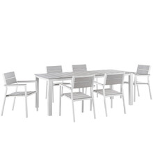 Maine 7 Piece Outdoor Patio Dining Set, White Light Grey, Steel