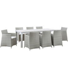 Junction 9 Piece Outdoor Patio Dining Set, Gray White Plastic