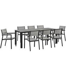 Maine 9 Piece Outdoor Patio Dining Set, Brown Grey Steel