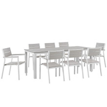 Maine 9 Piece Outdoor Patio Dining Set, White Light Grey Steel