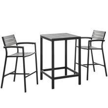Maine 3 Piece Outdoor Patio Dining Set, Brown Grey, Steel
