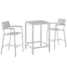 Maine 3 Piece Outdoor Patio Dining Set, White Light Grey, Steel