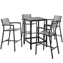 Maine 5 Piece Outdoor Patio Dining Set, Brown Grey, Steel