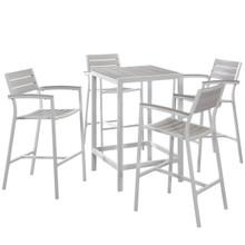 Maine 5 Piece Outdoor Patio Dining Set, White Light Grey, Steel