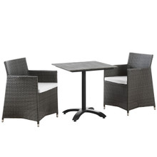 Junction 3 Piece Outdoor Patio Dining Set, Brown White Plastic