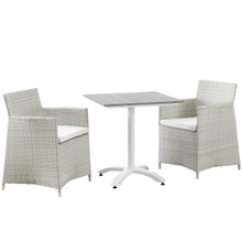 Junction 3 Piece Outdoor Patio Dining Set, Gray White Plastic
