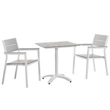 Maine 3 Piece Outdoor Patio Dining Set, Steel White Light Grey