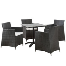 Junction 5 Piece Outdoor Patio Dining Set, Brown White Plastic