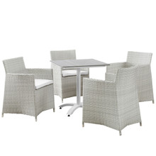 Junction 5 Piece Outdoor Patio Dining Set, Gray White Plastic