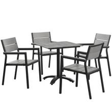 Maine 5 Piece Outdoor Patio Dining Set, Steel Brown Grey