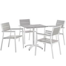 Maine 5 Piece Outdoor Patio Dining Set,  Steel White Light Grey