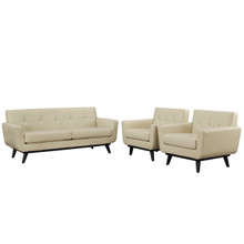 Engage 3 Piece Leather Living Room Set, Beige Leather