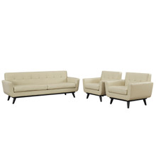Engage 3 Piece Leather Living Room Set, Beige, Leather