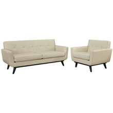 Engage 2 Piece Leather Living Room Set, Beige Leather