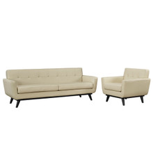 Engage 2 Piece Leather Living Room Set, Beige, Leather