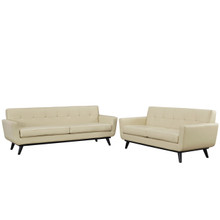 Engage 2 Piece Leather Living Room Set, Leather Beige