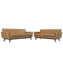 Engage 2 Piece Leather Living Room Set, Leather Tan