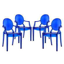 Casper Dining Armchairs Set of 4, Blue Plastic