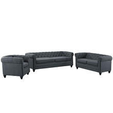 Earl 3 Piece Fabric Living Room Set, Grey Fabric