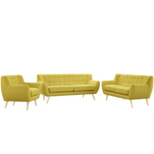 Remark 3 Piece Living Room Set, Yellow Fabric