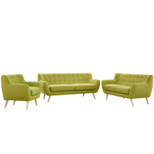 Remark 3 Piece Living Room Set, Green Fabric