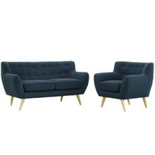 Remark 2 Piece Living Room Set, Navy Fabric