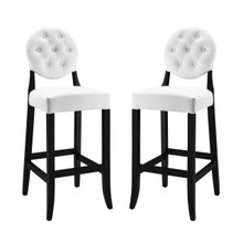 Button Bar Stool Set of 2, White Faux Leather