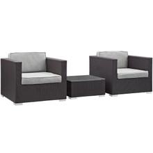 Burrow 3 Piece Outdoor Patio Sofa Set, Brown Grey Plastic