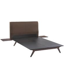 Tracy 3 Piece Queen Bedroom Set, Brown Fabric Wood