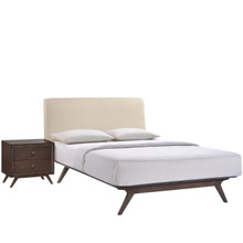 Tracy 2 Piece Queen Bedroom Set, Beige Fabric Wood