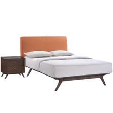 Tracy 2 Piece Queen Bedroom Set, Orange Fabric Wood