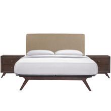 Tracy 3 Piece Queen Bedroom Set, Wood, Brown Fabric