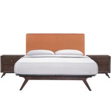 Tracy 3 Piece Queen Bedroom Set, Orange, Fabric Wood