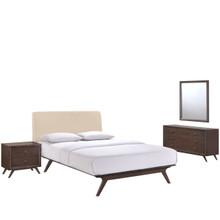 Tracy 4 Piece Queen Bedroom Set, Beige Fabric Wood