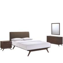 Tracy 4 Piece Queen Bedroom Set, Brown Fabric Wood