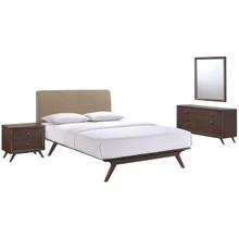 Tracy 4 Piece Queen Bedroom Set, Brown, Fabric Wood