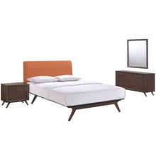 Tracy 4 Piece Queen Bedroom Set, Orange Fabric Wood