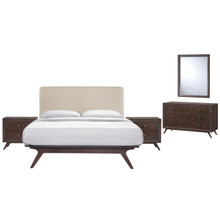 Tracy 5 Piece Queen Bedroom Set, Beige Fabric Wood