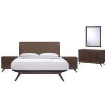 Tracy 5 Piece Queen Bedroom Set, Brown Fabric Wood