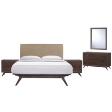 Tracy 5 Piece Queen Bedroom Set, Brown, Fabric Wood