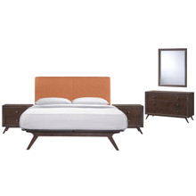 Tracy 5 Piece Queen Bedroom Set, Orange Fabric Wood