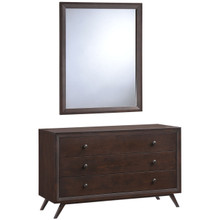 Tracy Dresser and Mirror, Brown Wood